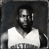 Sep 29, 2014; Auburn Hills, MI, USA;  (Editor's Note: Photo was post-processed creating a digital tintype) Detroit Pistons guard Will Bynum (12) during media day at the Pistons practice facility. Mandatory Credit: Rick Osentoski-USA TODAY Sports