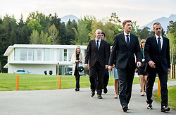 Gianni Infantino, president of FIFA, Miro Cerar, prime minister of Slovenia and Aleksander Ceferin, president of Football Association of Slovenia during Official opening of the Slovenian National football centre Brdo (Nacionalni nogometni center Brdo), on May 6, 2016, in Brdo pri Kranju, Slovenia. Photo by Vid Ponikvar / Sportida