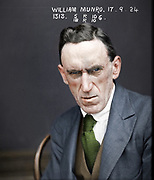 Vintage Mugshots in colour<br /> <br /> William Munro - September 1924<br /> <br /> &quot;Charged with receiving stolen goods to the value of 536 pounds 4 shillings and 1 penny, the property of Snow's department store.&quot;<br /> &copy;Fr&eacute;d&eacute;ric DurIiez/Exclusivepix Media