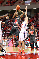 08 November 2015: Tony Wills(12) takes a shot from the middle of the lane. Illinois State Redbirds host the Southern Indiana Screaming Eagles and beat them 88-81 in an exhibition game at Redbird Arena in Normal Illinois (Photo by Alan Look)
