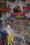 Royal family souvenirs and merchandise on sale in a tourist gift shop window as the royal town of Windsor gets ready for the royal wedding between Prince Harry and his American fiance Meghan Markle, on 14th May 2018, in London, England.