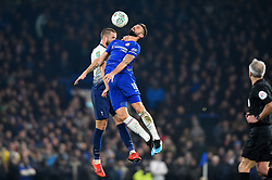 January 24, 2019 - London, England, United Kingdom - Tottenham midfielder Eric Dier battles in the air with Chelsea forward Olivier Giroud  during the Carabao Cup match between Chelsea and Tottenham Hotspur at Stamford Bridge, London on Thursday 24th January 2019. (Credit Image: © Mark Fletcher/NurPhoto via ZUMA Press)