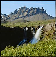 Waterfall in Berufjörður, below Smátindar Mountain. Beruneshreppur. Fossar í Berufirði, fyrir neðan Smátinda. Beruneshreppur.<br />