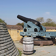 Cannon at Fort Moultrie, Sullivan's Island, SC. The fort was used by the Confederates to bombard Fort Sumter in Charleston Harbor to begin the American Civil War. The fort previously played an important role in defeating the British during a battle for Charleston in the American Revolutionary War.