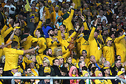 Australian fans celebrating and singing Waltzing Matilda during the Rugby World Cup Pool A match between England and Australia at Twickenham, Richmond, United Kingdom on 3 October 2015. Photo by Matthew Redman.