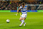 Queens Park Rangers forward Ryan Manning (14) shoots towards the goal during the EFL Sky Bet Championship match between Queens Park Rangers and Brentford at the Kiyan Prince Foundation Stadium, London, England on 28 October 2019.