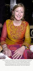 MISS JESSICA SAINSBURY, she is Princess Jessica Frankopan, at a dinner in London on 6th November 2001.OTZ 6