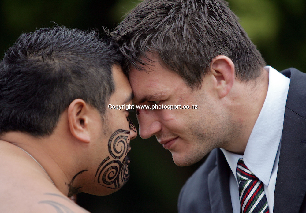Martin Corry and a Maori Warrior hongi at the Taurangawaewae Marae in Ngaruawahia, New Zealand on Saturday June 11, 2005. The Lions play the NZ Maori team tonight in Hamilton. Photo: Hannah Johnston/PHOTOSPORT