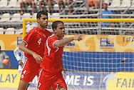 Football-FIFA Beach Soccer World Cup 2006 - Group D-BHR_NGA - Adnan Ebrahim,  with  team- mate Alghawi, -BHR- celebrates his goal running to bench. - Rio de Janeiro - Brazil 06/11/2006<br />Mandatory credit: FIFA/ Marco Antonio Rezende.