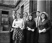 "07/06/1973.06/07/1973.07 June 1973.The president of the Incorporated Law Society,Mr. T. V. O'Connor presented parchments to young solicitors at the Four Courts, Dublin on Thursday. Picture shows (l-r): Mr Robert P. Barrett, B.C.L., ""Moyne"", Model Farm Road, Cork; Miss Nancy O'Driscoll, B.C.L., Kilcrea, Ovens, Co. Cork; Mr. George D.R. Mills, B.C.L., Belvedere Lawn, Douglas Road, Cork; Miss Paula Desmond, B.C.L., Kilbeg, Bandon, Co. Cork; Mr. declan C. Carroll, B.C.L., ""Linden"", Fermoy, Co. Cork and Miss Goretti Hickey, B.C.L., ""Shalimar"", Hettyfield, Douglas, Co. Cork after they had received their parchments at the formal addmission of solicitors into their profession."