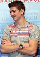 Picture by Richard Gould/Focus Images Ltd +44 7855 403186<br /> 22/06/2013<br /> Luke Campbell smiles at Drew Mathews (left) &amp; Tommy Coyle square up in a heated face off pictured during a press conference at Hull City Hall.