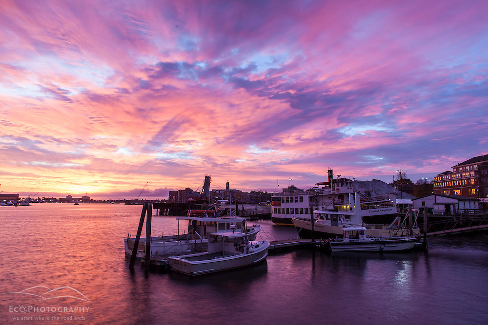 Boats docked in the Piscataqua River in Portsmouth, New Hampshire. Sunrise.