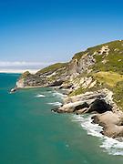 Pillar Point and the Farewell Spit beyond, from near Cape Farewell, near Puponga, New Zealand.