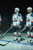 KELOWNA, CANADA - MAY 13: Colten Martin #8 of Kelowna Rockets lines up for his last career game on home ice against the Portland Winterhawks on May 13, 2015 during game 4 of the WHL final series at Prospera Place in Kelowna, British Columbia, Canada.  (Photo by Marissa Baecker/Shoot the Breeze)  *** Local Caption *** Colten Martin;