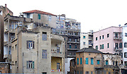LEBANON, BEIRUT:  Houses and apartment buildings in Beirut showing machine gun and bomb damage from the civil war.