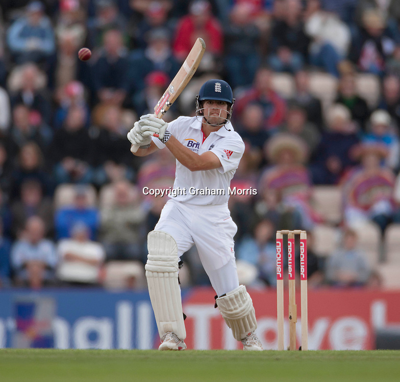 Alastair Cook bats during the third npower Test Match between England and Sri Lanka at the Rose Bowl, Southampton.  Photo: Graham Morris (Tel: +44(0)20 8969 4192 Email: sales@cricketpix.com) 18/06/11