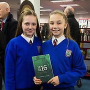 08/12/2015                <br /> Limerick City & County Council launches Ireland 2016 Centenary Programme<br /> <br /> An extensive programme of events across the seven programme strands of the Ireland 2016 Centenary Programme was launched at the Granary Library, Michael Street, Limerick, last night (Monday, 7 December 2015) by Cllr. Liam Galvin, Mayor of the City and County of Limerick.<br /> <br /> Led by Limerick City & County Council and under the guidance of the local 1916 Co-ordinator, the programme is the outcome of consultations with interested local groups, organisations and individuals who were invited to participate in the planning and implementation of events and initiatives during 2016.  <br /> <br /> Pictured at the event were, Holly Carey and Rebecca Murphy, St. Patricks Girls NS, Limerick. Picture: Alan Place