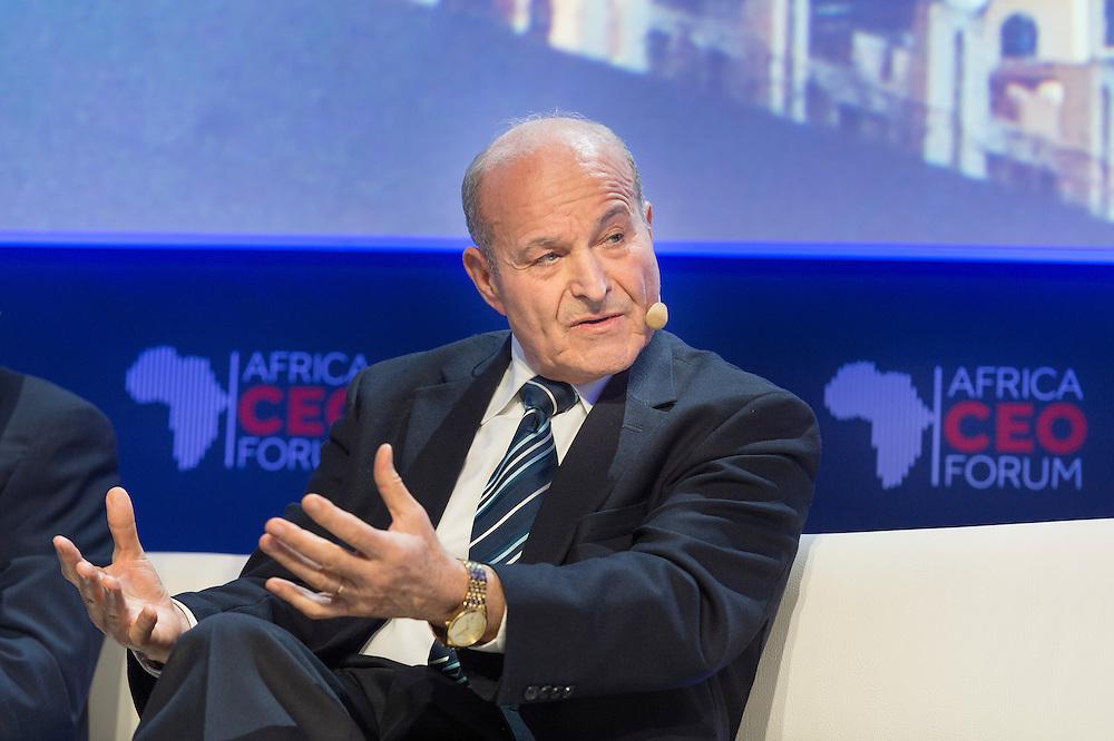 """Issad Rebrab, fondateur du groupe Cevital, lors du Panel Croissance: """"Champions africains: comment s'assurer une croissance rentable?"""", 16 mars 2015, Africa Ceo Forum 2015"""