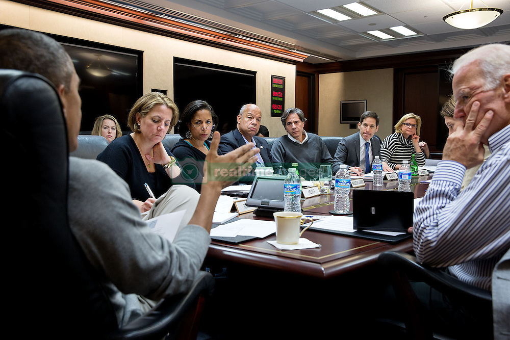 President Barack Obama convenes an Ebola update meeting with Vice President Joe Biden in the Situation Room of the White House, Saturday, Oct. 18, 2014. Seated at the table, from left, are: Lisa Monaco, Assistant to the President for Homeland Security and Counterterrorism; National Security Advisor Susan E. Rice; Homeland Security Secretary Jeh Johnson; Tony Blinken, Deputy National Security Advisor;  Dr. Thomas Frieden, Director of the Centers for Disease Control and Prevention; Jennifer Palmieri, Director of Communications; and Health and Human Services Secretary Sylvia Mathews Burwell. (Official White House Photo by Pete Souza)<br /> <br /> This official White House photograph is being made available only for publication by news organizations and/or for personal use printing by the subject(s) of the photograph. The photograph may not be manipulated in any way and may not be used in commercial or political materials, advertisements, emails, products, promotions that in any way suggests approval or endorsement of the President, the First Family, or the White House.
