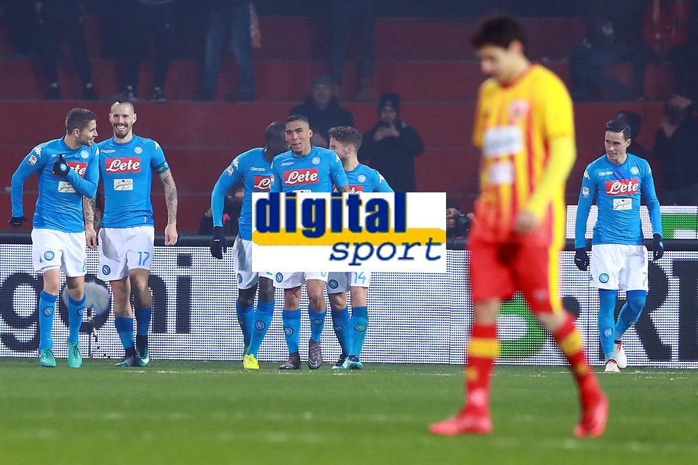 Esultanza dopo il gol di Marek Hamsik Napoli  goal celebration<br /> Benevento 04-02-2018  Stadio Ciro Vigorito<br /> Football Campionato Serie A 2017/2018. <br /> Benevento - Napoli<br /> Foto Cesare Purini / Insidefoto