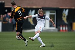 Falkirk's Stephen Kingsley shoots.<br /> Alloa Athletic 0 v 0 Falkirk, Scottish Championship 12/10/2013. played at Recreation Park, Alloa.<br /> &copy;Michael Schofield.