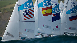 06.08.2012, Bucht von Weymouth, GBR, Olympia 2012, Segeln, im Bild The fleet after the start // during Sailing, at the 2012 Summer Olympics at Bay of Weymouth, United Kingdom on 2012/08/06. EXPA Pictures © 2012, PhotoCredit: EXPA/ Juerg Kaufmann ***** ATTENTION for AUT, CRO, GER, FIN, NOR, NED, POL, SLO and SWE ONLY!