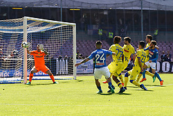 April 8, 2018 - Napoli, Napoli, Italy - Naples - Italy 08/04/2018.LORENZO INSIGNE of S.S.C. NAPOLI and SORRENTINO STEFANO and BASTIEN SAMUEL of CHIEVO VERONA  during SERIE A  match between S.S.C. NAPOLI and CHIEVO VERONA   at Stadio San Paolo of Naples. .Final scores S.S.C. NAPOLI -CHIEVO VERONA 2-1  (Credit Image: © Emanuele Sessa/Pacific Press via ZUMA Wire)