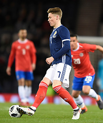 Scotland's Scott McTominay in action during the international friendly match at Hampden Park, Glasgow. RESTRICTIONS: Use subject to restrictions. Editorial use only. Commercial use only with prior written consent of the Scottish FA.