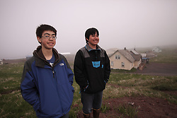 USA ALASKA  ST GEORGE ISLAND 7JUL12 - Anthony C. Lekanof (L) and William. T. S. Lekanof pose for a portrait on the island of St. George in the Bering Sea, Alaska......Photo by Jiri Rezac / Greenpeace......© Jiri Rezac / Greenpeace