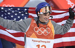 February 18, 2018 - Pyeongchang, South Korea - NICK GOEPPER of the United States celebrates his silver medal win in Mens Ski Slopestyle finals Sunday, February 18, 2018 at Phoenix Snow Park at the Pyeongchang Winter Olympic Games. Goepper was silver medalist. Photo by Mark Reis, ZUMA Press/The Gazette (Credit Image: © Mark Reis via ZUMA Wire)