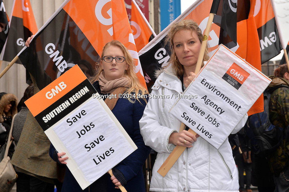 Pictured (l-r) are Michelle Gordon and Sharon Wilde.<br /> GMB London and Southern Regions protest outside of a meeting at Friends House, Euston Road, between the Environment Agency and unions over possible redundancies.<br /> Thursday, 20th February 2014. Picture by Ben Stevens / i-Images