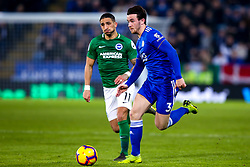 Ben Chilwell of Leicester City goes past Anthony Knockaert of Brighton and Hove Albion - Mandatory by-line: Robbie Stephenson/JMP - 26/02/2019 - FOOTBALL - King Power Stadium - Leicester, England - Leicester City v Brighton and Hove Albion - Premier League