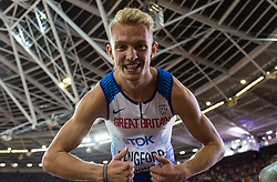 London, August 08 2017 . Kyle Langford, Great Britain, celebrates his 4th place in the men's 800m final on day five of the IAAF London 2017 world Championships at the London Stadium. © Paul Davey.