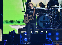 Ed Sheeran with Stormzy on stage at the BRIT Awards 2017, held at The O2 Arena, in London.<br />