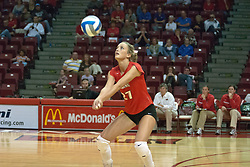 30 September 2006: Redbird Katie Seyller with a dig. The Drake Bulldogs opened the match with a decisive win in the 1st game, but struggled in the next 3.  The Illinois State Redbirds took the match 3 games to 1.The match took place at Redbird Arena on the campus of Illinois State University in Normal Illinois.