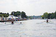 "Henley on Thames, United Kingdom, 3rd July 2018, Sunday,  ""Henley Royal Regatta"", The Diamond Challenge Sculls, Finalists, (Left) Mahe DRYSDALE NZL M1X,  (Right) Kjetil BORCH NOR M1X, power away from the end of the island,   View, Henley Reach, River Thames, Thames Valley, England, UK."