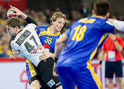 Jannik Kohlbacher of Germany vs Jesper Nielsen of Sweden during handball match between National teams of Germany and Sweden on Day 4 in Preliminary Round of Men's EHF EURO 2016, on January 18, 2016 in Centennial Hall, Wroclaw, Poland. Photo by Vid Ponikvar / Sportida