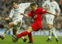 Liverpool's Michael Owen and Middlesbrough's Robbie Stockdale during the Premiership  match at Anfield, Liverpool, Saturday, February 8th, 2003.<br /><br />Pic by David Rawcliffe/Propaganda<br /><br />Any problems call David Rawcliffe on +44(0)7973 14 2020 or email david@propaganda-photo.com - http://www.propaganda-photo.com