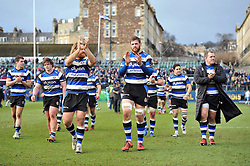 Dave Attwood and the rest of the Bath Rugby team acknowledge the crowd after the match - Photo mandatory by-line: Patrick Khachfe/JMP - Mobile: 07966 386802 25/01/2015 - SPORT - RUGBY UNION - Bath - The Recreation Ground - Bath Rugby v Glasgow Warriors - European Rugby Champions Cup