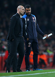 25 October 2016 - EFL Cup - 4th Round - Arsenal v Reading - Jaap Stam manager of Reading speaks to assistant Steven Reid - Photo: Marc Atkins / Offside.