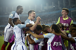 October 28, 2017 - Kolkata, West Bengal, India - England players celebrate a goal during the FIFA U 17 World Cup India Final match in Kolkata. England wins FIFA U 17 World Cup 5-2 against Spain. (Credit Image: © Saikat Paul/Pacific Press via ZUMA Wire)
