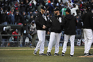 CHICAGO - APRIL 01:  Chris Sale #49 is congratulated by John Danks (center) and Jake Peavy #44 of the Chicago White Sox after the game against the Kansas City Royals on April 1, 2013 at U.S. Cellular Field in Chicago, Illinois.  The White Sox defeated the Royals 1-0.  (Photo by Ron Vesely)   Subject: Chris Sale; John Danks; Jake Peavy
