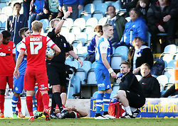 Peterborough United's Marcus Maddison (right) is shown a straight red card for a tackle on Leyton Orient's Luke O'Neill - Photo mandatory by-line: Joe Dent/JMP - Mobile: 07966 386802 - 07/03/2015 - SPORT - Football - Peterborough - ABAX Stadium - Peterborough United v Leyton Orient - Sky Bet League One