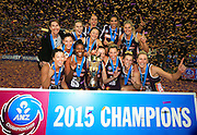 QUEENSLAND FIREBIRDS CELEBRATE - PHOTO: SMP IMAGES / QLD FIREBIRDS MEDIA - QIUEENSLAND FIREBIRDS v NSW SWIFTS - 21st June 2015 - The Queensland Firebirds celebrate winning the 2015 ANZ Netball Championships against the NSW Swifts at the Brisbane Entertainment Centre, Boondal.