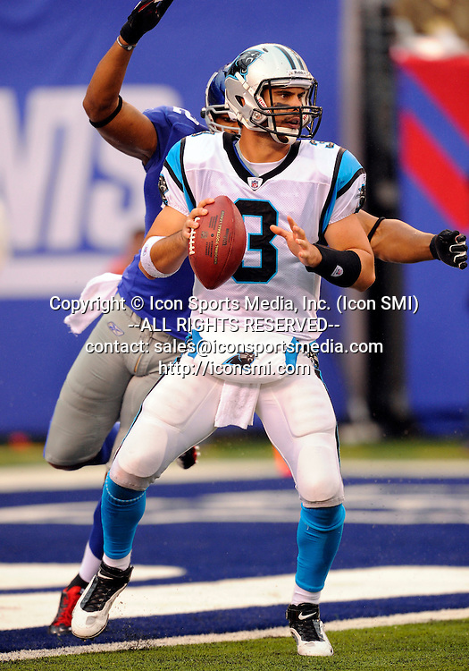 12 September 2010: Carolina Panthers quarterback Matt Moore (3) looks to pass during the second half of the Carolina Panthers vs New York Giants game at the New Meadowlands Stadium in East Rutherford, New Jersey The Giants defeated the Panthers 31-18.