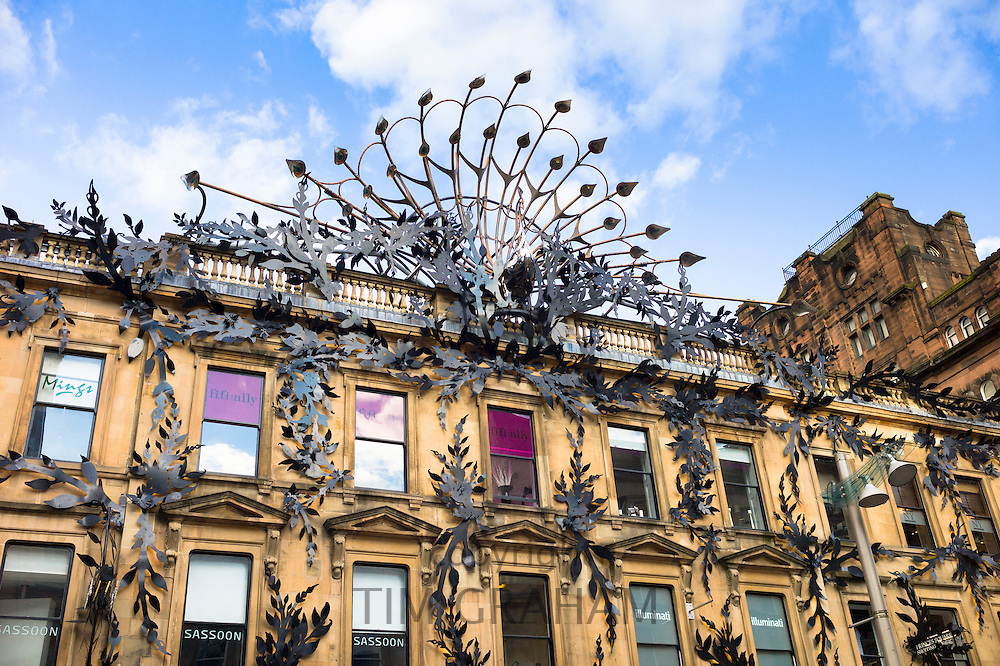 Famous peacock modern art sculpture above Prince's Square Shopping Centre in Buchanan Street, Glasgow City Centre, Scotland