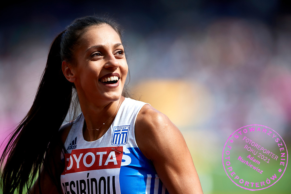 Great Britain, London - 2017 August 11: Elisavet Pesiridou from Greece competes in women&rsquo;s 100 meters qualification during IAAF World Championships London 2017 Day 8 at London Stadium on August 11, 2017 in London, Great Britain.<br /> <br /> Mandatory credit:<br /> Photo by &copy; Adam Nurkiewicz<br /> <br /> Adam Nurkiewicz declares that he has no rights to the image of people at the photographs of his authorship.<br /> <br /> Picture also available in RAW (NEF) or TIFF format on special request.<br /> <br /> Any editorial, commercial or promotional use requires written permission from the author of image.