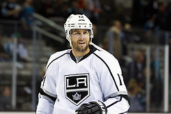 Nov 7, 2011; San Jose, CA, USA; Los Angeles Kings left wing Simon Gagne (12) warms up before the game against the San Jose Sharks at HP Pavilion.  San Jose defeated Los Angeles 4-2. Mandatory Credit: Jason O. Watson-US PRESSWIRE