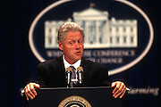 WASHINGTON, DC - October 6: President Bill Clinton speaking at global warming conference at Georgetown University in Washington, DC. October 6, 1997  (Photo RIchard Ellis)