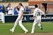Wicket - Craig Overton of Somerset celebrates taking the wicket of James Harris of Middlesex who was bowled during the Specsavers County Champ Div 1 match between Somerset County Cricket Club and Middlesex County Cricket Club at the Cooper Associates County Ground, Taunton, United Kingdom on 26 September 2017. Photo by Graham Hunt.